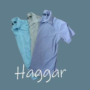 Haggar Polo Bundle, Blue, Tan and Purple